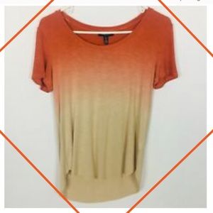 NWT OMBRE TEE BY KENNETH COLE DIP DYE RUST RAW HEM